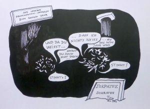 P. Angele, Sokrates' Weisheit, Zeichnung, 2014