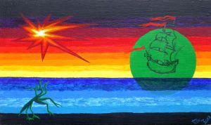 Acryl-Bld von mir, Unerwartete Küste, 2002